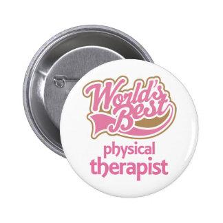 El mejor terapeuta físico de los mundos rosados li pin redondo de 2 pulgadas