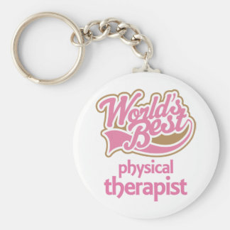 El mejor terapeuta físico de los mundos rosados llavero redondo tipo pin