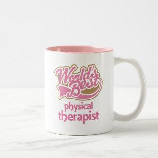 El mejor terapeuta físico de los mundos rosados taza de café de dos colores