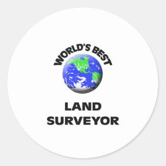 El mejor topógrafo de la tierra del mundo pegatina redonda