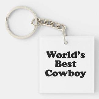 El mejor vaquero del mundo llavero cuadrado acrílico a una cara