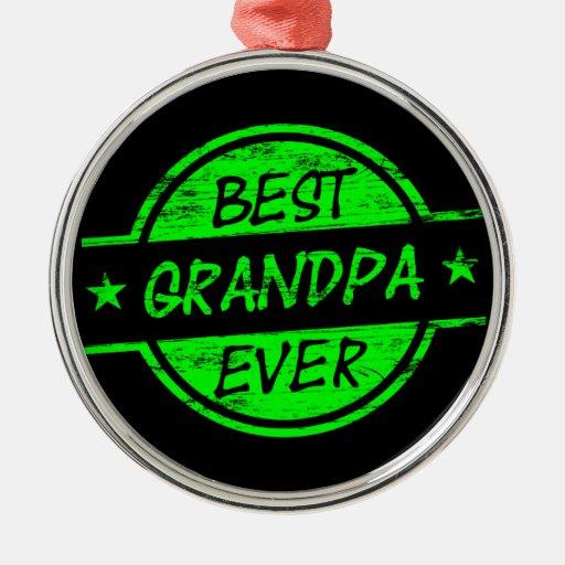 El mejor verde del abuelo nunca adorno redondo plateado