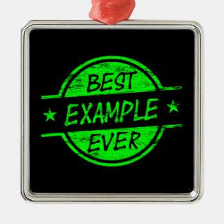 El mejor verde del ejemplo nunca adorno navideño cuadrado de metal