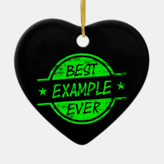 El mejor verde del ejemplo nunca adorno navideño de cerámica en forma de corazón