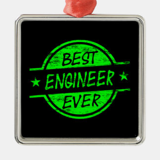 El mejor verde del ingeniero nunca adorno navideño cuadrado de metal