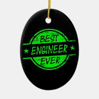 El mejor verde del ingeniero nunca adorno navideño ovalado de cerámica