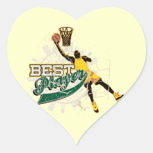 El mejor verde y oro del jugador del baloncesto pegatina en forma de corazón