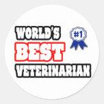 El mejor veterinario del mundo pegatina redonda