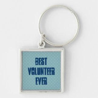 El mejor voluntario nunca o cualquier sentimiento llavero cuadrado plateado