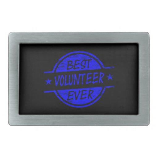 El mejor voluntario siempre azul hebillas de cinturón rectangulares
