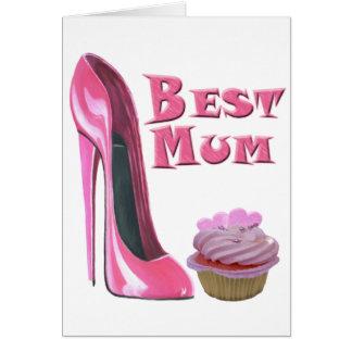 El mejor zapato del estilete del rosa de la momia tarjeta de felicitación