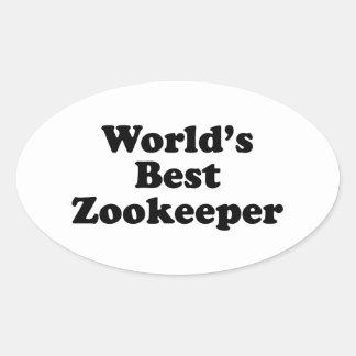 El mejor Zookeeper del mundo Pegatina Ovalada