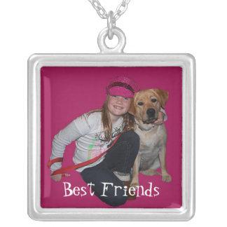 El mejores chica y perrito del Amigo-Bonito Colgante Cuadrado