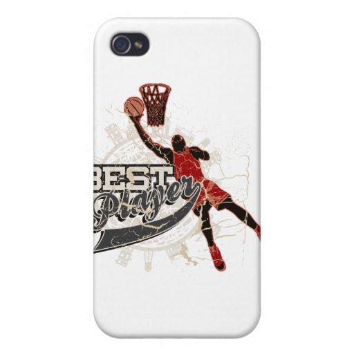 El mejores rojo y gris del jugador del baloncesto iPhone 4/4S carcasas