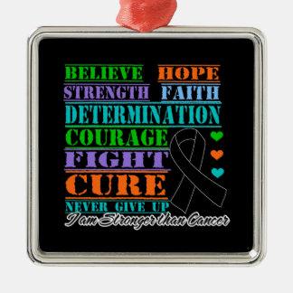 El melanoma cree la determinación de la fuerza adorno navideño cuadrado de metal