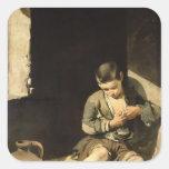 El mendigo joven, c.1650 pegatina cuadrada