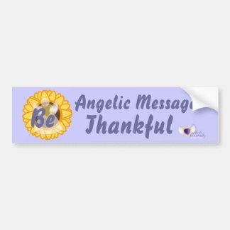El mensaje angelical sea agradecido agradecido etiqueta de parachoque