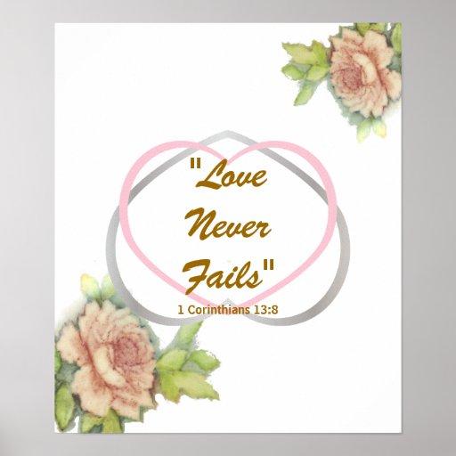 """El mensaje bíblico"""" amor del amor nunca falla"""" el  póster"""