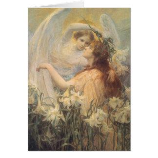 El mensaje del ángel del arte del Victorian del Tarjeta De Felicitación