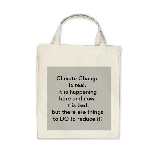 El mensaje del cambio de clima en un bolso bolsa lienzo