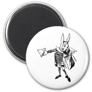 El mensajero blanco del conejo entintó negro imán de nevera