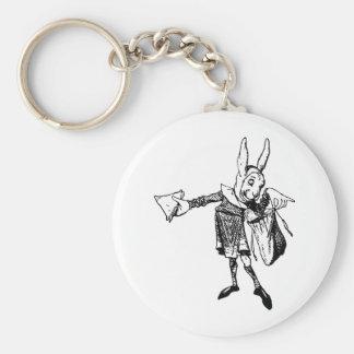 El mensajero blanco del conejo entintó negro llavero redondo tipo pin
