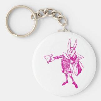 El mensajero blanco del conejo entintó rosa llavero redondo tipo pin