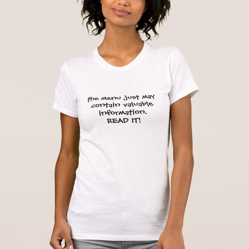 el menú apenas puede contener la información t-shirts