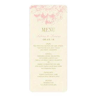 El menú de la cena de boda carda el Peony floral Comunicado