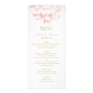 El menú de la cena de boda carda el Peony floral Plantilla De Lona