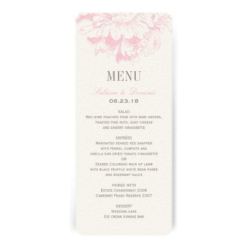 El menú de la cena de boda carda el Peony floral r Comunicados Personales