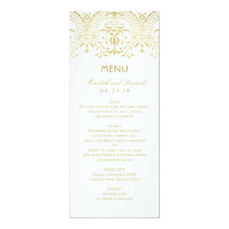 """El menú de la cena de boda carda encanto del invitación 4"""" x 9.25"""""""
