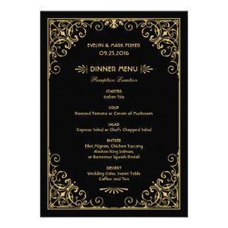 El menú de la cena de boda carda estilo del art dé comunicados