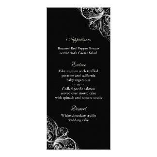 El menú del boda carda blanco elegante del negro d tarjetas publicitarias