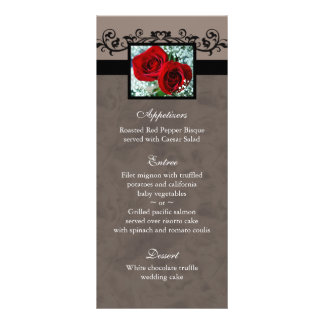 El menú del boda carda el corazón de los rosas roj lonas