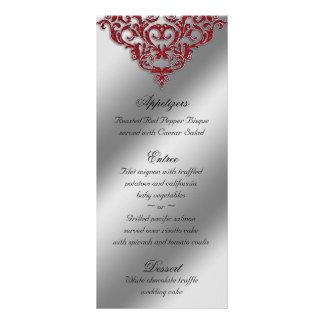 El menú del boda del damasco carda Navidad roja de Tarjeta Publicitaria