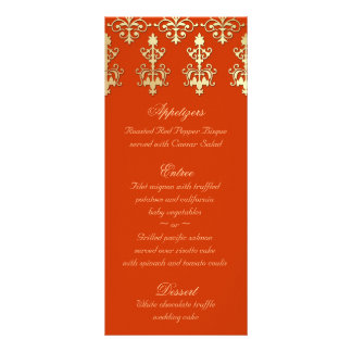 El menú indio del boda carda el damasco anaranjado lona