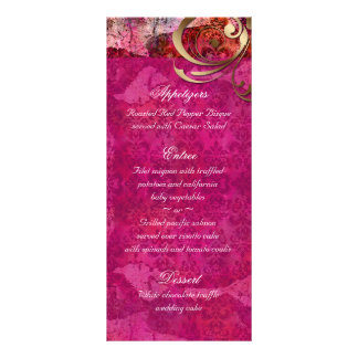 El menú indio del boda carda el damasco rosado del plantilla de lona