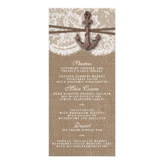 El menú náutico rústico de la colección del boda lonas personalizadas