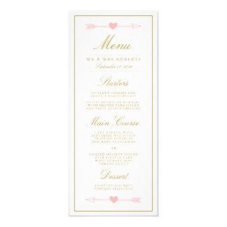 """El menú precioso de la cena de boda de las invitación 4"""" x 9.25"""""""