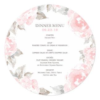 """El menú redondo del boda carda rosas rosados de la invitación 5.25"""" x 5.25"""""""