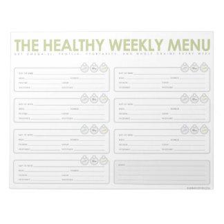 El menú semanal sano bloc de notas