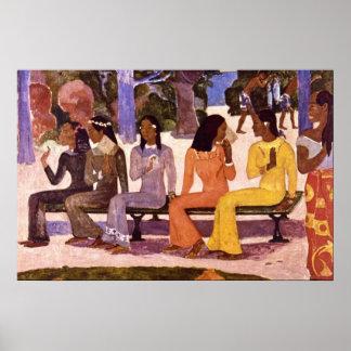 El mercado de Eugène Enrique Paul Gauguin Póster