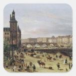 El mercado de la flor, 1832 pegatina cuadrada