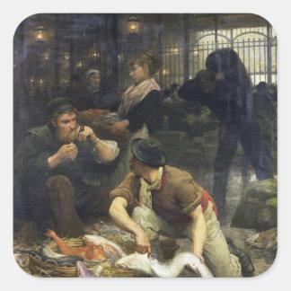 El mercado de pescados por la mañana, 1880 calcomanías cuadradas