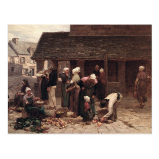 El mercado de Ploudalmezeau Tarjeta Postal