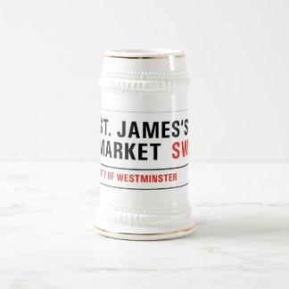 El mercado de San Jaime, placa de calle de Londres Jarra De Cerveza