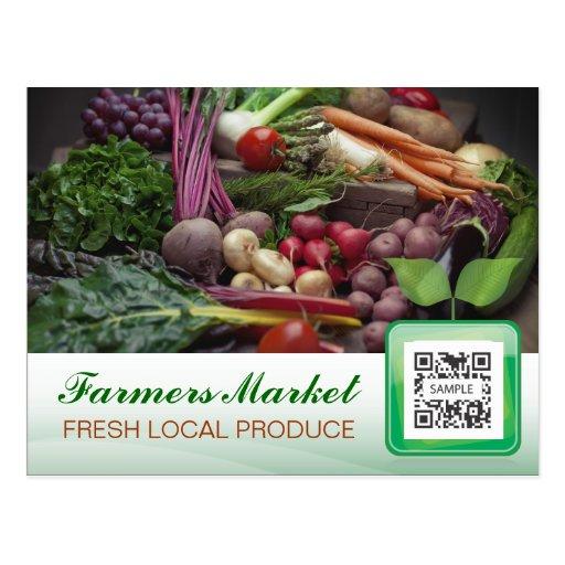 El mercado del granjero de la plantilla de la post tarjeta postal