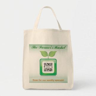 El mercado del granjero de la plantilla del bolso bolsa lienzo