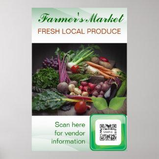 El mercado del granjero de la plantilla del poster
